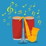 Bongos en saxofoon muzikaal instrumentenetiket royalty-vrije illustratie