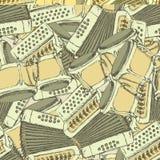 Bongos et accordéon de croquis illustration de vecteur