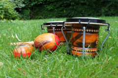 Bongos and maracas on grass Stock Photos