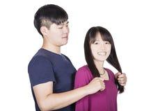 Bonheur cudding de couples avec amour Photographie stock libre de droits