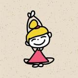 Bonheur de personnage de dessin animé de dessin de main Photos libres de droits