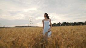 Bonheur, nature, vacances d'été, vacances et concept de personnes - jeune femme dans la robe blanche marchant le long du gisement banque de vidéos