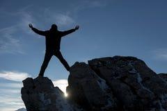 Bonheur réussi de sommet Photographie stock libre de droits