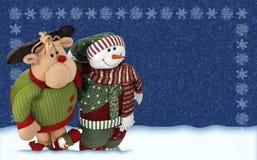 Bonhomme de neige amical avec le renne de santa´s Image libre de droits