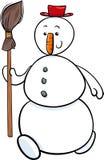 Bonhomme de neige avec l'illustration de bande dessinée de balai Images stock