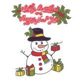 Bonhomme de neige avec l'illustration de vecteur de cadeaux sur le fond blanc illustration stock