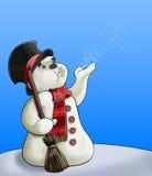 Bonhomme de neige avec le balai Images stock