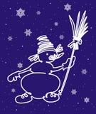 Bonhomme de neige avec le balai Photo libre de droits
