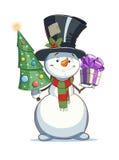 Bonhomme de neige avec le cadeau caractère de Noël Photos libres de droits