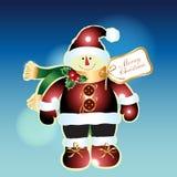 Bonhomme de neige avec le fond de Noël et le vecteur de carte de voeux Images stock