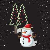 Bonhomme de neige avec le fond de Noël et le vecteur de carte de voeux Image stock