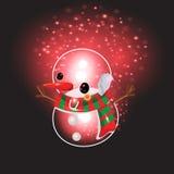 Bonhomme de neige avec le fond de Noël et le vecteur de carte de voeux Photo stock