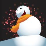 Bonhomme de neige avec le fond de Noël et le vecteur de carte de voeux Image libre de droits