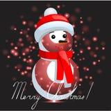 Bonhomme de neige avec le fond de Noël et le vecteur de carte de voeux Images libres de droits