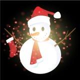 Bonhomme de neige avec le fond de Noël et le vecteur de carte de voeux Photographie stock