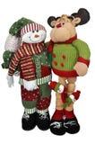 Bonhomme de neige avec le renne de Santa Image libre de droits