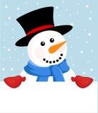 Bonhomme de neige avec le signe Images stock