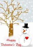 Bonhomme de neige avec rouge coeur la salutation de Valentine Image libre de droits