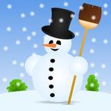 Bonhomme de neige avec un balai dans le paysage Image libre de droits