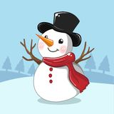 Bonhomme de neige blanc dans le jour de Noël illustration libre de droits