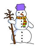 Bonhomme de neige coloré de bande dessinée Photo libre de droits