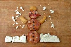 Bonhomme de neige créatif de casse-croûte Photographie stock