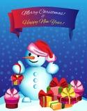 Bonhomme de neige d'illustration de vecteur avec des cadeaux Images stock