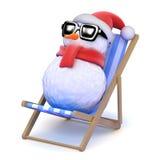 bonhomme de neige 3d prenant un bain de soleil dans une chaise longue Photographie stock