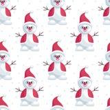 Bonhomme de neige dans le chapeau de Santa Claus Images stock
