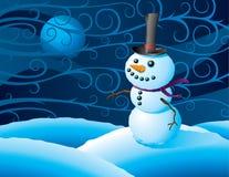 Bonhomme de neige dans une tempête de l'hiver Image libre de droits