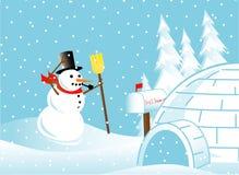 Bonhomme de neige dans une tempête de neige Photos stock
