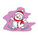 Bonhomme de neige de bande dessinée avec les conseils surfants illustration de vecteur