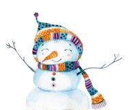 Bonhomme de neige de bande dessinée d'aquarelle dans le style puéril d'isolement sur le fond blanc illustration de vecteur