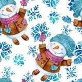 Bonhomme de neige de bande dessinée d'aquarelle dans le style puéril d'isolement sur le fond blanc illustration stock