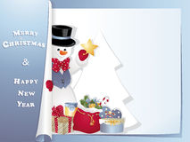 Bonhomme de neige de carte de Noël avec l'étoile Images stock