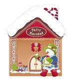 Bonhomme de neige de carte de Noël, maison de gingembre et navidad de feliz Image libre de droits