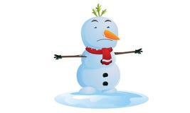 Bonhomme de neige de fonte Images libres de droits