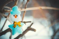 Bonhomme de neige de jouet sur une branche Photographie stock