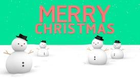 Bonhomme de neige de Joyeux Noël et terre verte Image stock