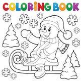 Bonhomme de neige de livre de coloriage sur le thème 1 de traîneau Image libre de droits