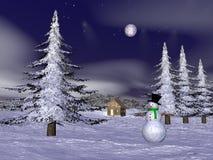 Bonhomme de neige de Noël à la montagne - 3D rendent Photos stock