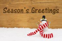 Bonhomme de neige de Noël avec des salutations du ` s de saison des textes Photo libre de droits