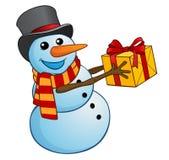 Bonhomme de neige de Noël avec le cadeau sur un fond blanc Photo libre de droits