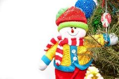 Bonhomme de neige de Noël dans des trois Photo stock