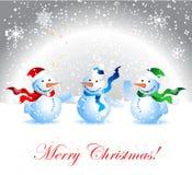 bonhomme de neige de Noël de carte Images libres de droits