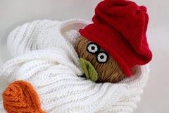 Bonhomme de neige de Noël de l'écharpe blanche, du chapeau rouge et de la feuille Photo stock