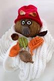 Bonhomme de neige de Noël de l'écharpe blanche, du chapeau rouge et de la feuille Photographie stock libre de droits