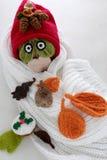 Bonhomme de neige de Noël de l'écharpe blanche, du chapeau rouge et de la feuille Photographie stock