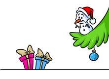 Bonhomme de neige de Noël peu de bande dessinée de branche d'arbre de cadeaux de caractère Photos stock