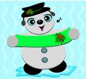 Bonhomme de neige de Noël chantant un air Images stock